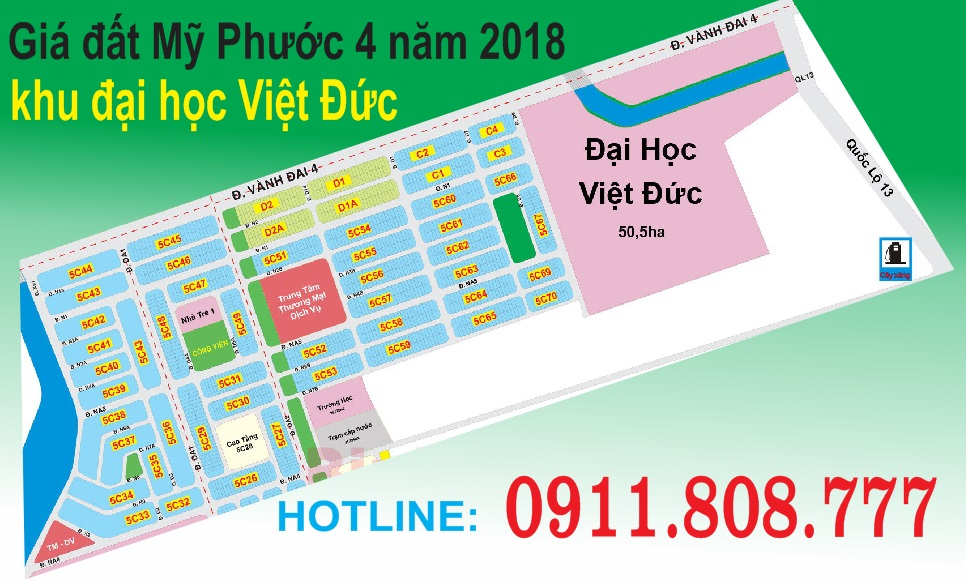 Giá đất Mỹ phước 4 năm 2018khu đại học Việt Đức