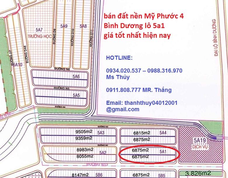 Thông tin mua bán lô 5a1 Mỹ Phước 4 cần bán