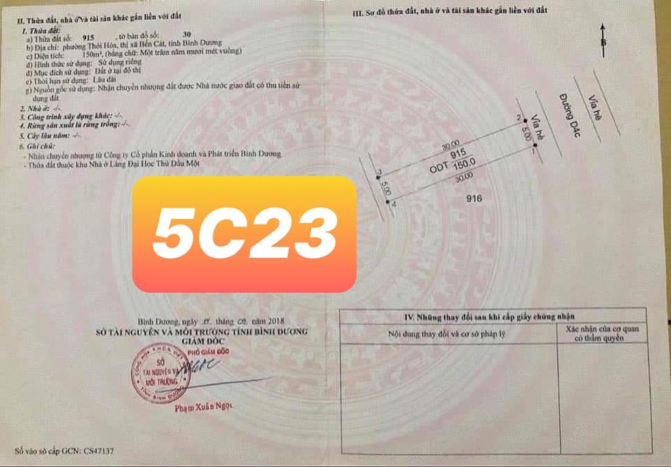 Bán Lô 5C23 Mỹ Phước 4